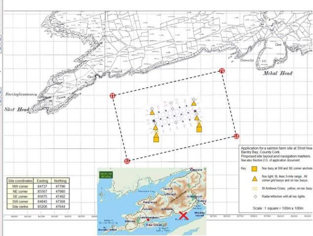 Pläne für eine 42 Hektar große Lachsfarm in Bantry Bay Irland