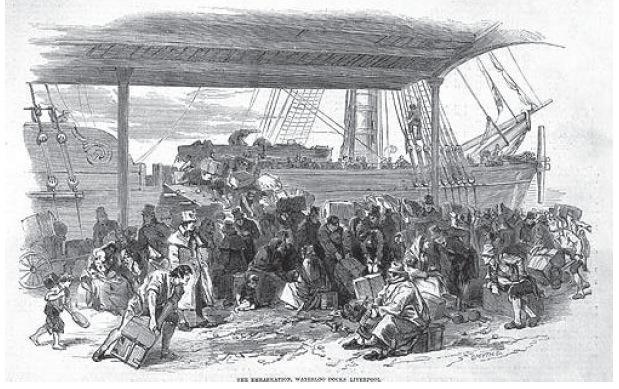 Emigration war für zwei Millionen Menschen der einzige Ausweg. Viele verließen Irland mit dem Schiff Richtung Amerika