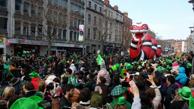 Heiliger St. Patrick auf der Patrick´s Parade Dublin