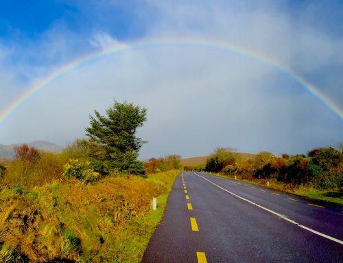 Am Ende der Wanderung. Am Ende des Regenbogens