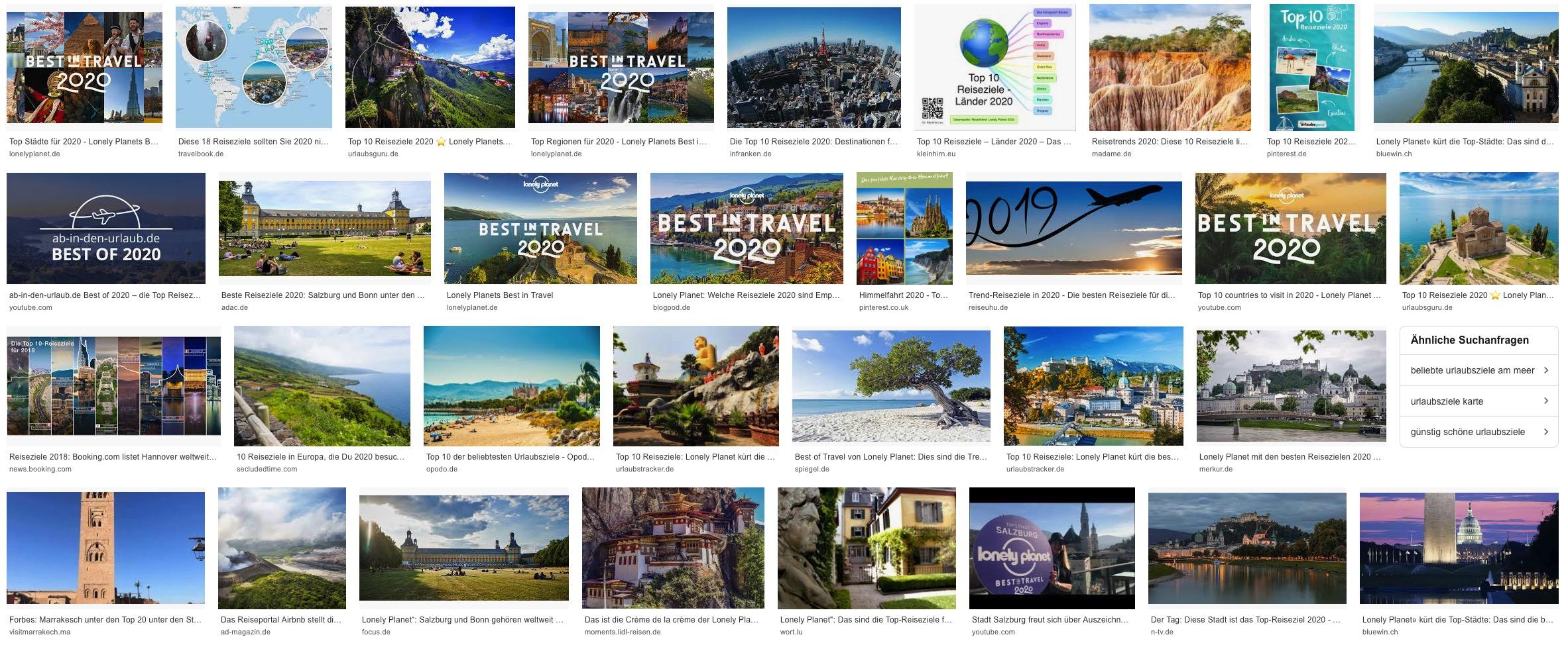 Top Ten Reiseziele